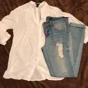 Distress light skinny jeans